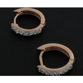 Σκουλαρίκια-Κρίκοι Jools ροζ χρυσό ασήμι 925 με ζιργκόν 58e288c5ded