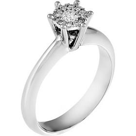 Δαχτυλίδι illusion από λευκό χρυσό 18 καρατίων με ένα κεντρικό διαμάντι  0.10ct και 12 περιμετρικά c0af356a0f3
