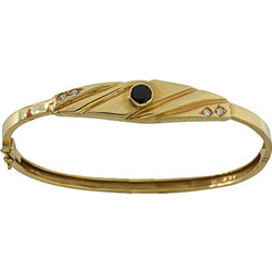 Βραχιόλι χειροπέδα χρυσό 14 καράτια με μαύρο ζιργκόν 82ccee9a34f