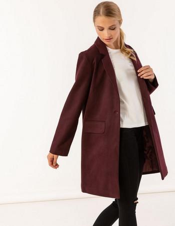 Παλτό σε ανδρικό στυλ με τσέπες μπροστά - Μπορντώ 8fc47c4f9a6