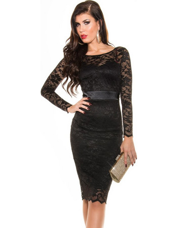 Midi φόρεμα δαντέλα - Black 4dc5577155e