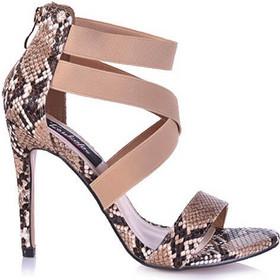 Πέδιλα καφέ φίδι δερματίνη χιαστί 342103bw. Tsoukalas Shoes a18b5c07c6e