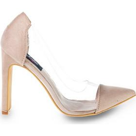 1a7d67b82f5 Γόβες μπεζ σουέτ μυτερές με διαφάνεια 341734be. Tsoukalas Shoes