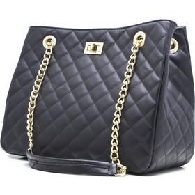 0b5cd7537472 Γυναικεία τσάντα chanel καπιτονέ δερμάτινη με φερμουάρ 50-L ΜΑΥΡΗ
