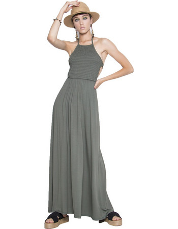 Μάξι φόρεμα με άνοιγμα στην πλάτη - Πράσινο cd9c876d050