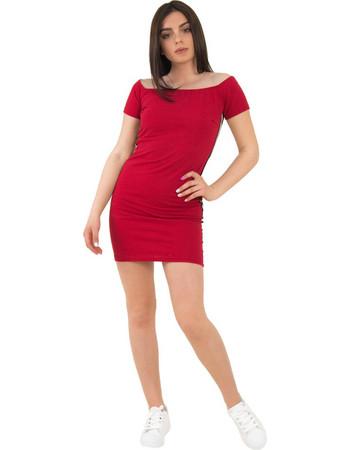 Γυναικείο κόκκινο φόρεμα κοντομάνικο με ρίγες 55128R 196c9d3e9cf