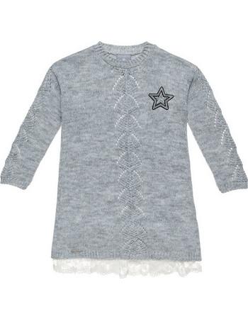 1e78e14ef7b Alouette παιδικό πλεκτό φόρεμα με δαντέλα στο τελείωμα - 00941718 - Γκρι