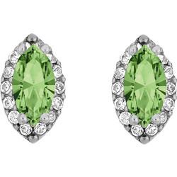 Ασημένια σκουλαρίκια ροζέτες νυχάκι 925 με πράσινη ανοιχτή πέτρα SWAROVSKI  SK-E3214WGAL1 8856de53240