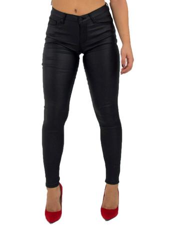 Γυναικείο μαύρο ελαστικό παντελόνι όψη δερματίνης CY125 cd66069be4a