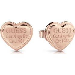 Σκουλαρίκια Guess UBE28010 ροζ χρυσά από ορείχαλκο καρδιές με το λογότυπο 901a0f30547