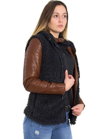 Γυναικείο μαύρο αμάνικο γουνάκι φερμουάρ Coocu 61874G 36db42d02e7