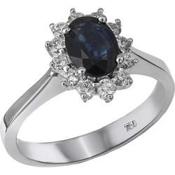Μονόπετρο δαχτυλίδι Κ18 με ζαφείρι και μπριγιάν 030186 030186 Χρυσός 18  Καράτια 355bf43b934