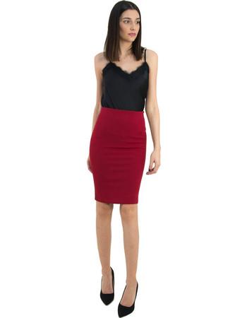 Γυναικεία κόκκινη ψηλόμεση pencil φούστα Cocktail 014104009D c04ed97312e
