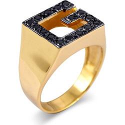 Χρυσό δαχτυλίδι Κ14 με μαύρες πέτρες - 01-40111 37cb39b7ed4