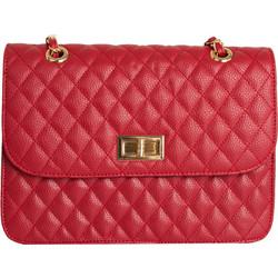 Γυναικεία καπιτονέ τσάντα ώμου κόκκινη δερματίνη 60663D f117edd8451