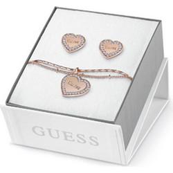 Σετ σκουλαρίκια και βραχιόλι Guess ροζ χρυσό καρδιά από ορείχαλκο με  λογότυπο UBS84041 e641f612cb4