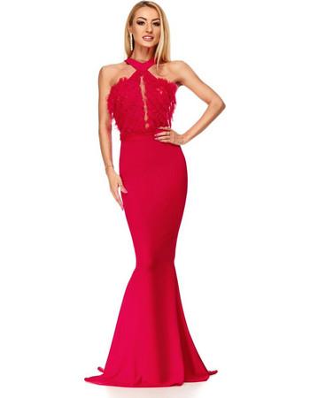 ad6e1513ef87 9191 RO Κομψό μάξι γοργονέ φόρεμα - κόκκινο