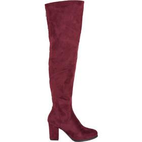 Γυναικείες μπορντό μπότες Over The Knee χοντρό τακούνι E5117 53f80481b81