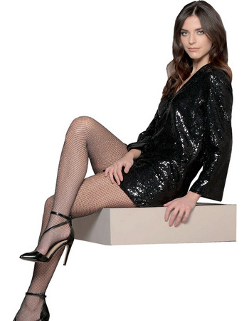 c979af0a85d8 Bellissima Γυναικείο Καλσόν Holiday Διχτυωτό Μαύρο με Ασημί