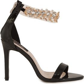 db6d6e2a955 Πέδιλα μαύρα δερματίνη με στρας περιμετρικά 302125bl. Tsoukalas Shoes
