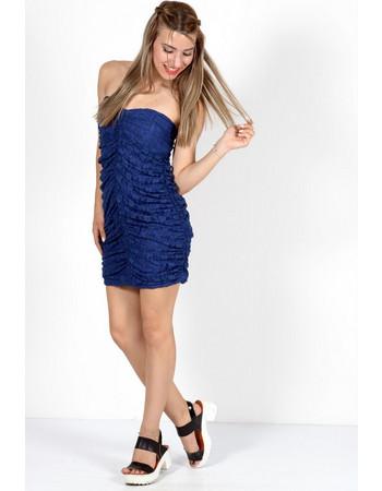 Φόρεμα σούρες δαντέλα mini Μπλε - Μπλε 72476f15a82