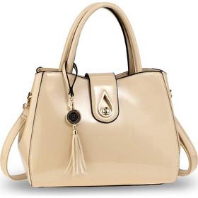 1548 AG Λουστρίνι τσάντα χειρός ώμου με φούντα AG00650 - Μπέζ fdbc891a6b5