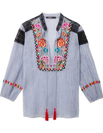 66d86932348e Desigual γυναικεία μπλούζα ριγέ με γιακά μαο και κεντήματα - 19SWBW28 -  Γαλάζιο