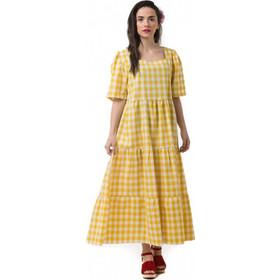 b52869bea78a Κίτρινο Φόρεμα Καρό με Βολάν