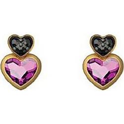 Σκουλαρίκια συλλογή Love καρδιά από επιχρυσωμένο ασήμι με πέτρες Swarovski f3bfc8b0999