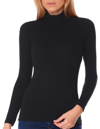 Jadea γυναικεία βαμβακερή μακρυμάνικη μπλούζα με όρθιο λαιμό 4057 Ανθρακί cf4d053daa8