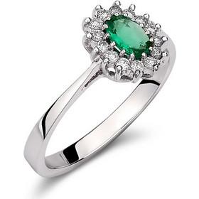 Δαχτυλίδι ροζέτα από λευκό χρυσό 18 καρατίων με οβάλ σμαράγδι στο κέντρο  και διαμάντια περιμετρικά. ff5d4abcb23