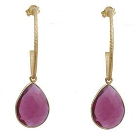 Jt Ασημένια σκουλαρίκια κρίκοι με ρουμπινί χαλαζία dbcf4a93621