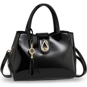 1549 AG Λουστρίνι τσάντα χειρός ώμου με φούντα AG00650 - Μαύρη 225033a6a86