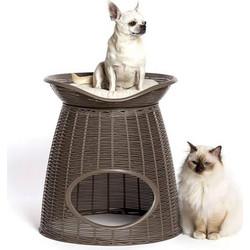 BAMA ITALY Διπλό Κρεβατάκι Γάτας-Σκαμπό 52x50x55cm RATTAN + 2 Μαξιλάρια  PASHA Γκρί-Καφέ 17f004716e4