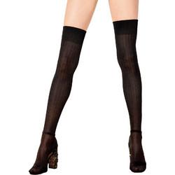 Omero μαύρες ριπ βισκόζ κάλτσες πάνω από το γόνατο Cloe 113406 b96348847b6