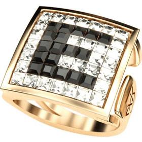 Ασημένιο δαχτυλίδι 925 με μονόγραμμα από λευκές και μαύρες πέτρες Swarovski  AD-15889G 493860cb639