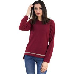 999676197bdf Γυναικεία μπορντό πλεκτή μακρυμάνικη μπλούζα 1176055K