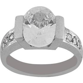 Δαχτυλίδι μονόπετρο λευκόχρυσο 14 καράτια με οβάλ ζιργκόν 10 χιλιοστά eaf2bb72324