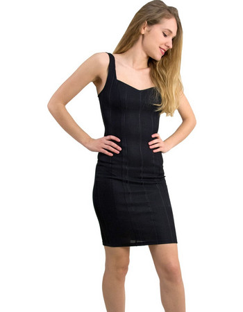 Γυναικείο φόρεμα με ριπ γυαλιστερό ύφασμα μαύρο 013900051Q c2535cd559b
