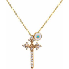 Κολιέ από χρυσό 14 καρατίων με κρεμαστό σταυρό διακοσμημένο με ζιρκόν και  μάτι με σμάλτο. ed654b198c9