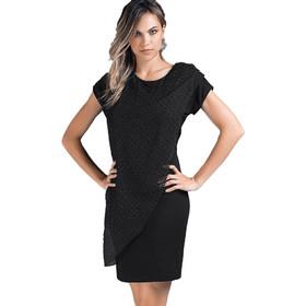 6d415bd84ab Jadea μαύρο βισκόζ με τούλι και στρας φόρεμα Tintoretto 4850D