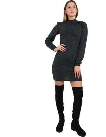 Γυναικείο μαύρο μάλλινο φόρεμα λουπέτο κορδέλα Benissimo 91936 b66360434df