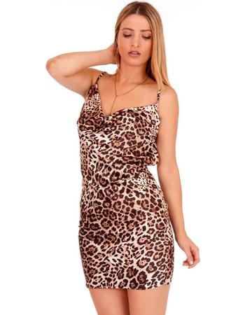 818b1218cbba Λεοπάρ Σατέν Mini Φόρεμα με Ανοιχτή Πλάτη Λεοπάρ Silia D