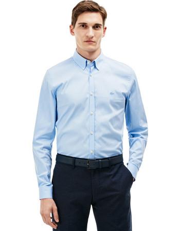 Ανδρικό μακρυμάνικο πουκάμισο slim fit poplin Lacoste - CH9628 - Γαλάζιο 60439fe8f76