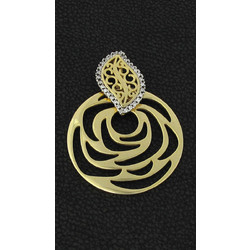 7d18274d039 Χρυσό μενταγιόν τριαντάφυλλο με λευκά ζιργκόν