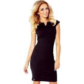 2e2534a898ae 70050 NU Κομψό μίνι φόρεμα με κοντό μανίκι - μαύρο