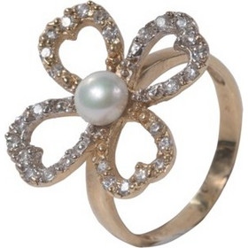 Γυναικείο δαχτυλίδι λουλούδι σε κίτρινο χρυσό Κ14 με λευκά ζιργκόν και  μαργαριταράκι 77a49456567