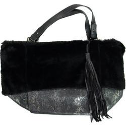 f02c597a087 Γυναικεία μαύρη γούνινη τσάντα ώμου κρόκο σχέδιο PF567