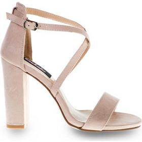 bd72327b836 Πέδιλα μπεζ σουέτ χιαστί με χοντρό τακούνι 342162be. Tsoukalas Shoes