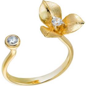Δαχτυλίδι από χρυσό 14 καρατίων με λουλούδι διακοσμημένο με ζιρκόν στο ένα  άκρο και μονόπετρο ζιρκόν 672f7c11632